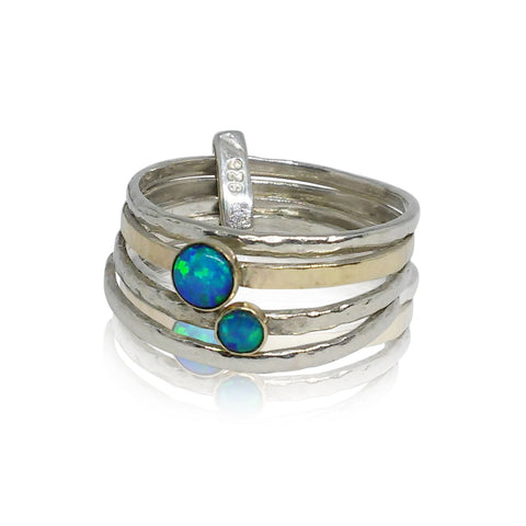 Sterling Silver, 9K Yellow Gold, Opal Ring