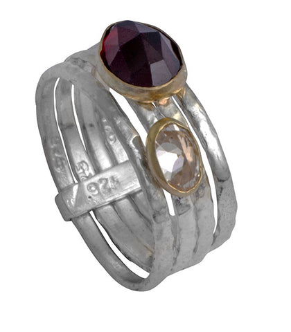 Sterling Silver, 9K Gold, Garnet, Tourmaline  Ring