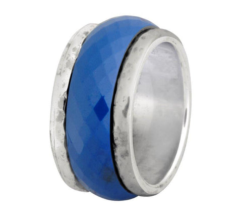 Sterling Silver, Blue Ceramic Ring
