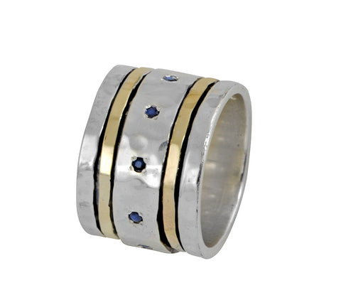 Sterling Silver, 9K Gold, Sapphire Ring