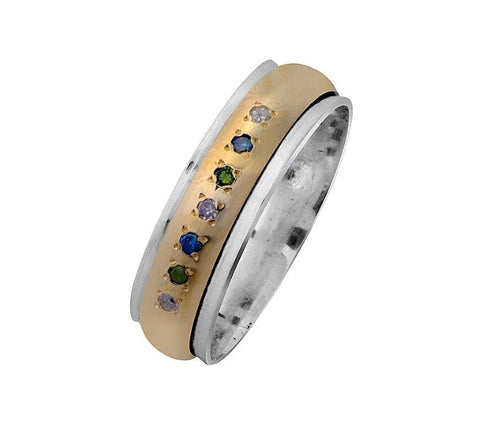 Sterling Silver, 9K Gold, Multi colour Ring