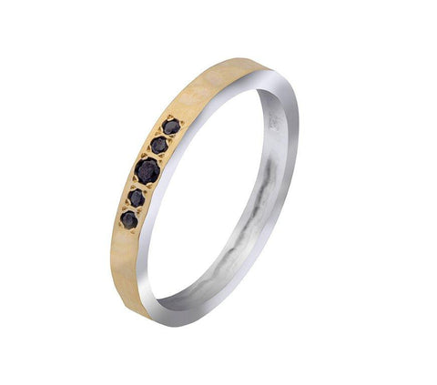 9K Gold, Black Diamonds Ring