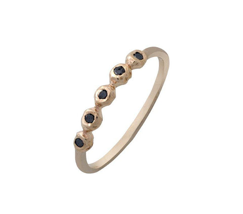 9K Gold (Yellow Gold), Black Diamond Ring