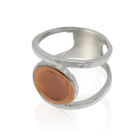 Sterling Silver, 9K Rose Gold Ring