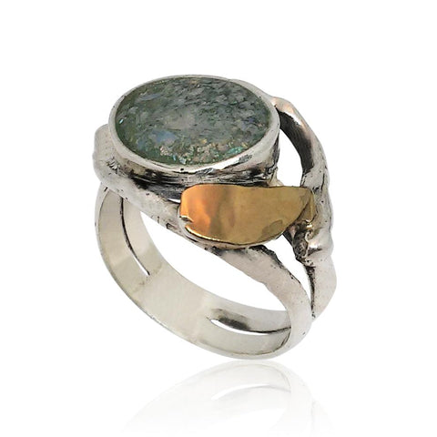 Sterling Silver, 9K Gold Ring