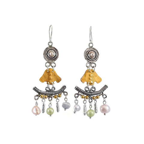 Sterling Silver, Gold Filled, Pearl, Died Pearl Earrings