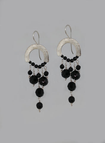 Sterling Silver, Onyx Earrings