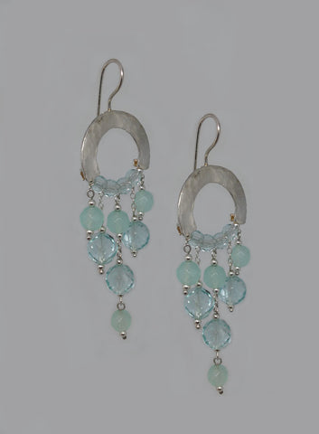 Sterling Silver, Blue Quartz Earrings