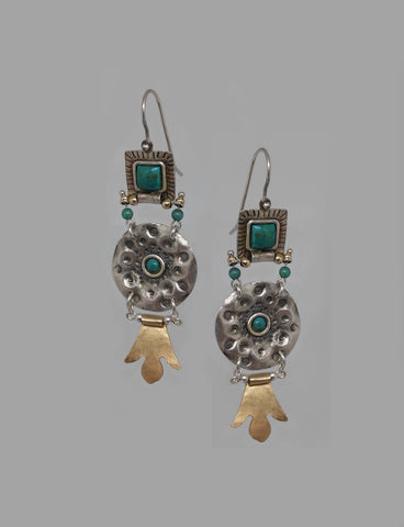 Sterling Silver, Turquoise, Gold Filled Earrings
