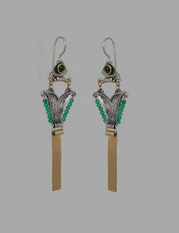 Sterling Silver, Gold Filled Green Agate Earrings
