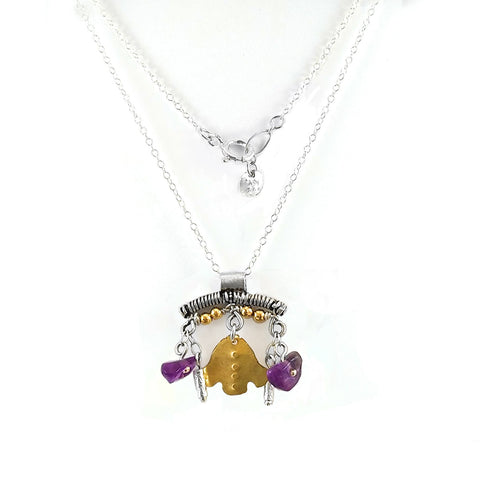 Sterling Silver, Gold Filled, Amethyst Necklace
