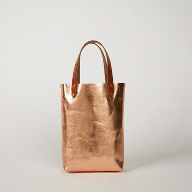 VIOLET  <br/> Foiled Leather Mini Tote <br> Rose Gold