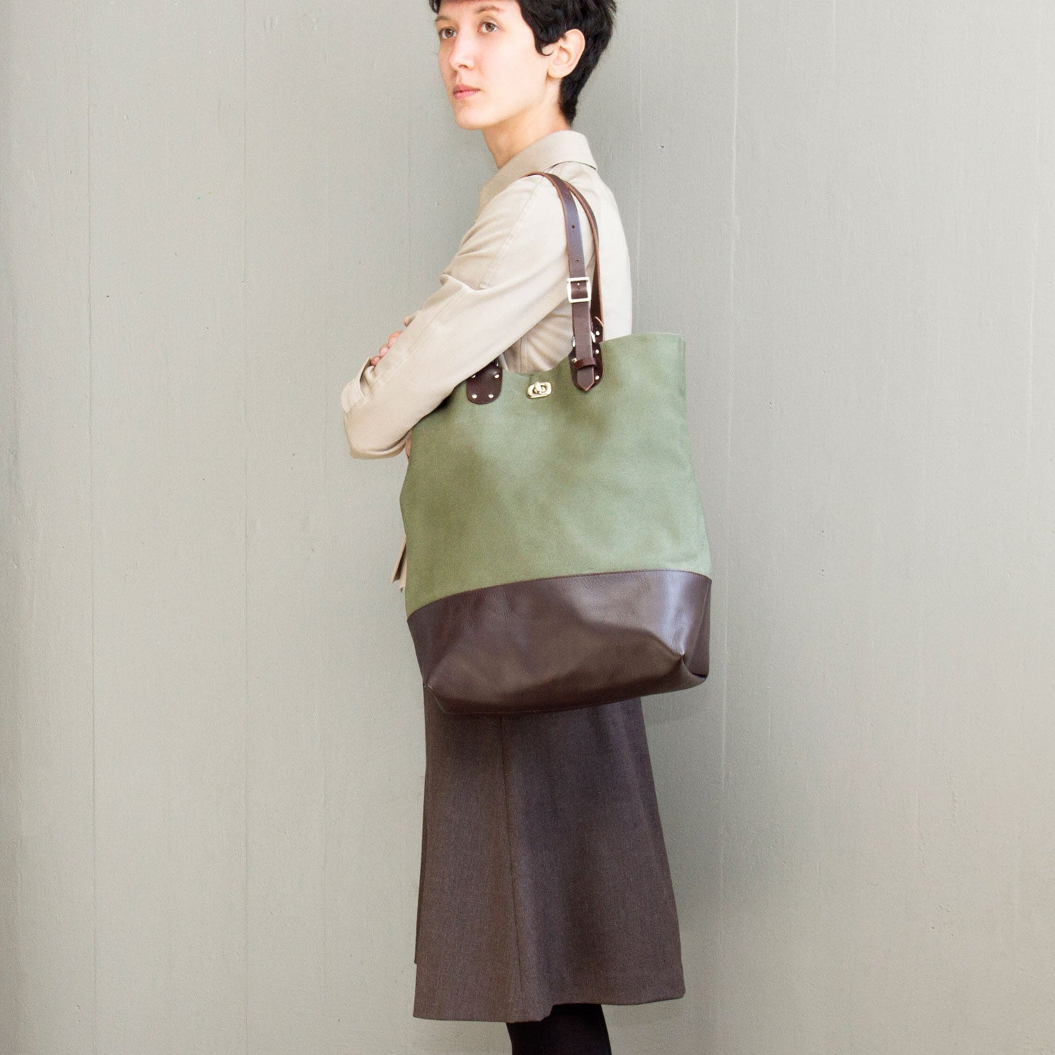 PALOMA <br/> Canvas/Leather Tote Bag <br/> Sage