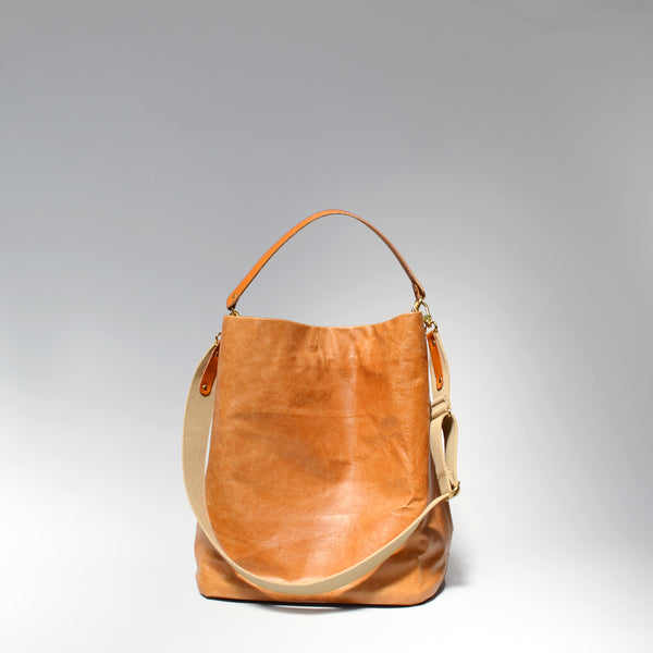 EDDIE  <br/> Distressed Leather Tote Bag </br> Tan