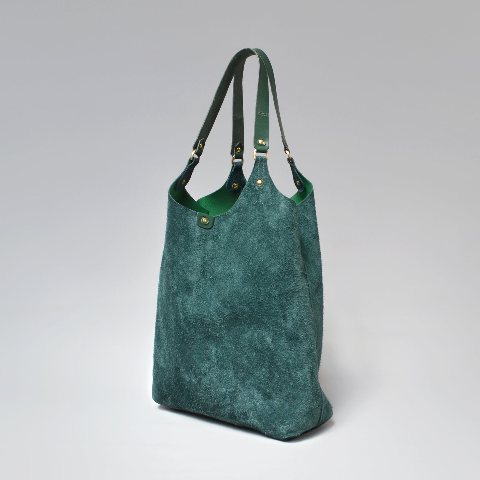 FANNY SUEDE Tote Bag<BR/> Forest Green