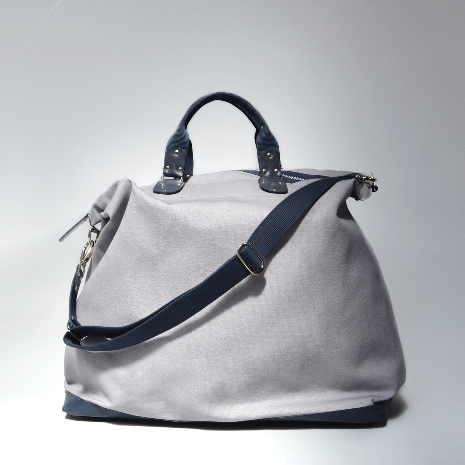 FLORES <br/> Canvas/Leather Satchel <br/> Grey