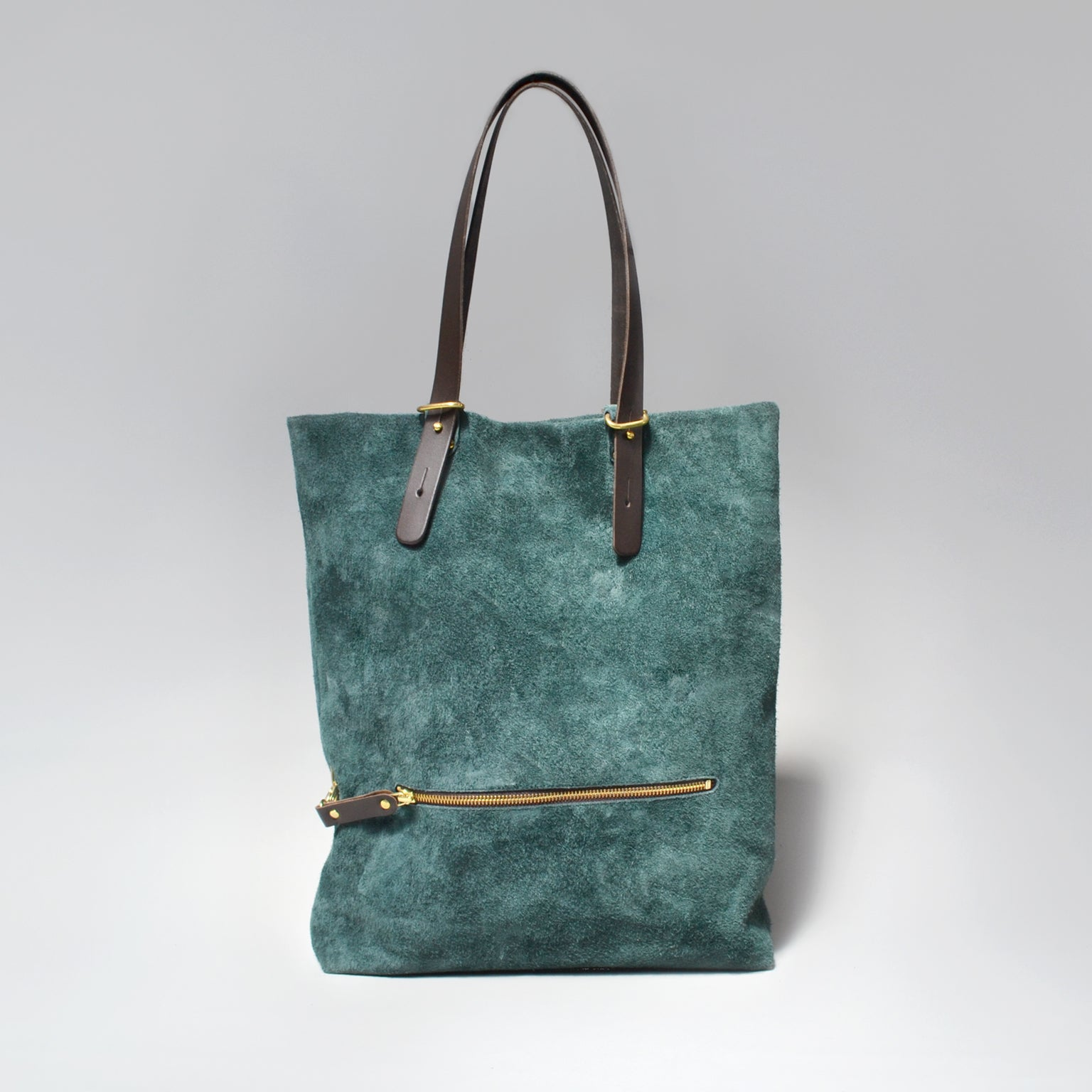 HELENA Suede Tote Bag <br/> Forest Green
