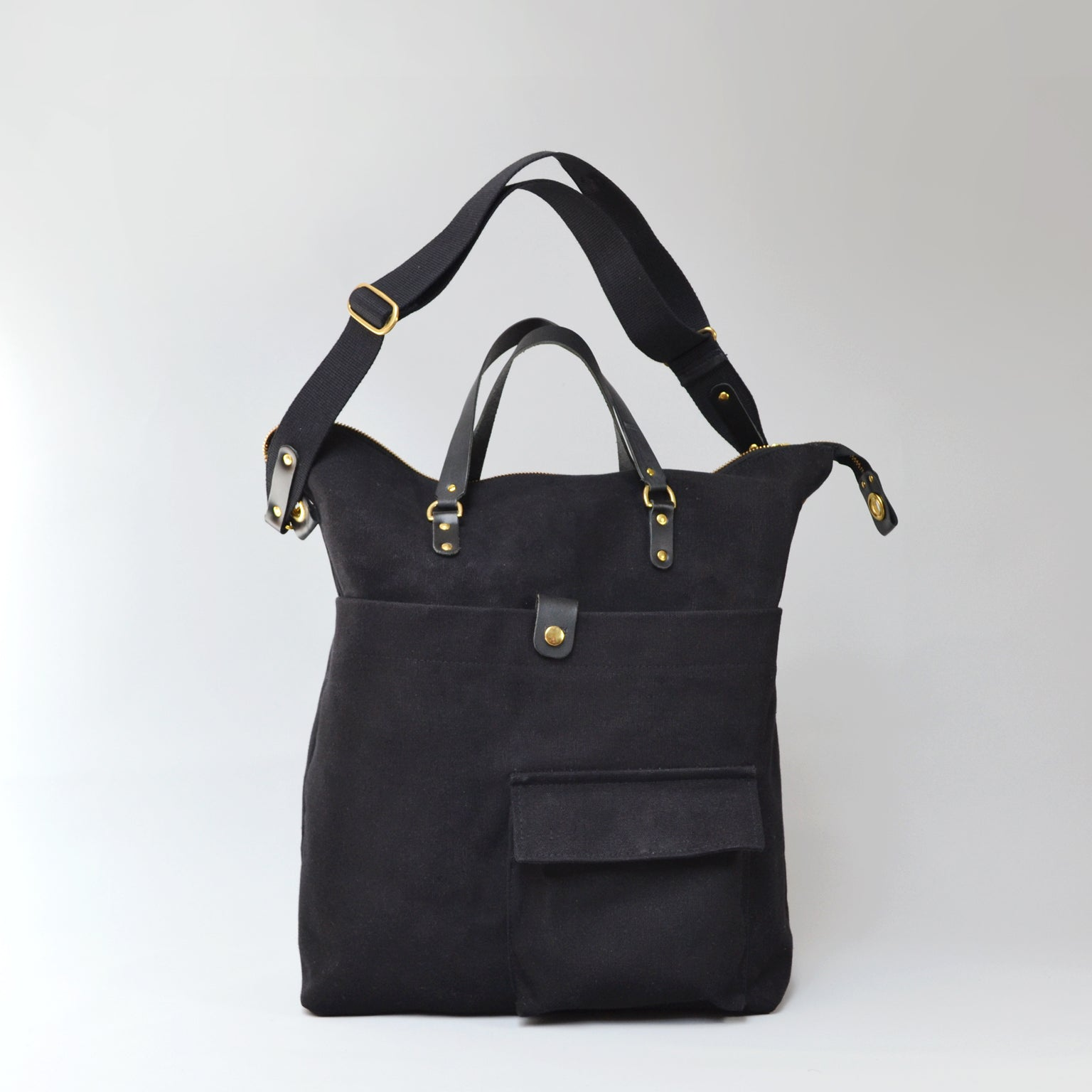 JEROME  <br/> Waxed Canvas Satchel Bag <br/> Black