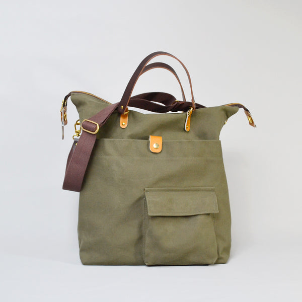JEROME  <br/> Waxed Canvas Satchel Bag <br/> Olive