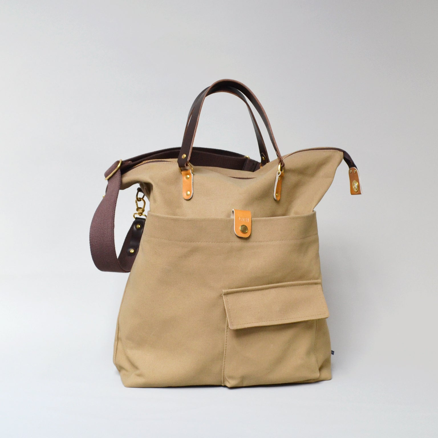JEROME  <br/> Waxed Canvas Satchel Bag <br/> Camel