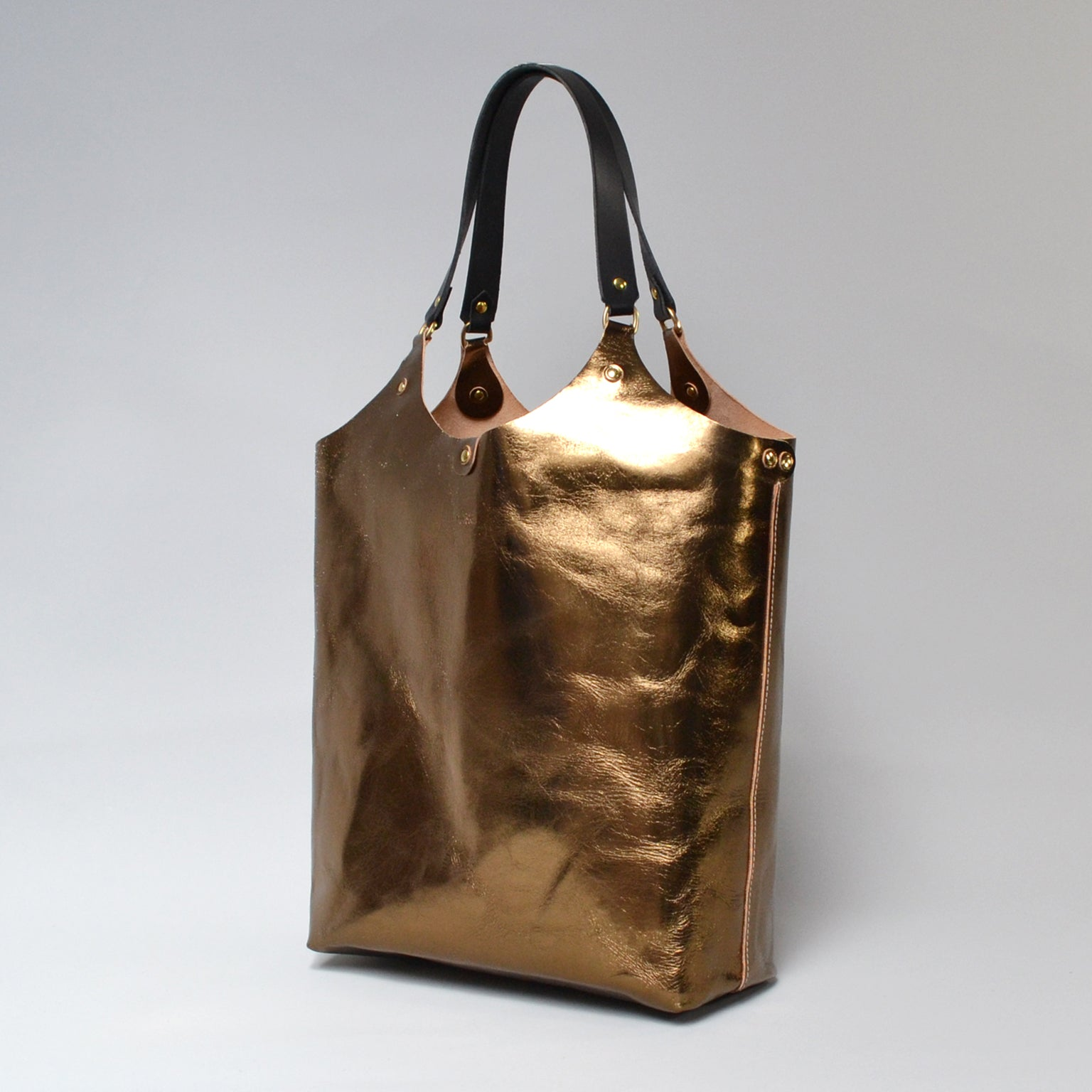 MARY <br/> Foiled Leather Tote Bag <br/> Bronze