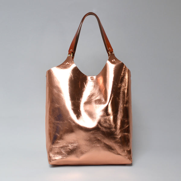 MARY <br/> Foiled Leather Tote Bag <br/> Rose Gold