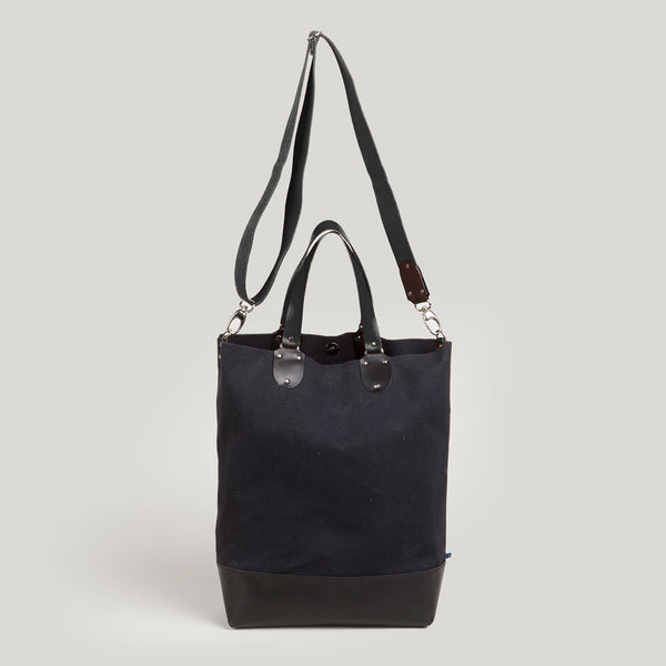 PHOEBE <br/> Canvas/Leather Tote Bag <br/> Black
