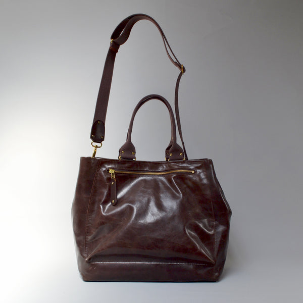 SOFIA <br/> Distressed Leather Shoulder Bag <br/> Tobacco