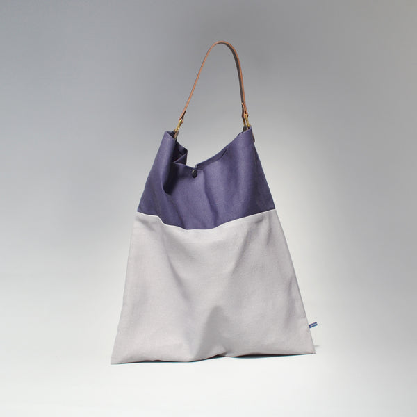 TESS Tote Bag<br> Navy & Grey