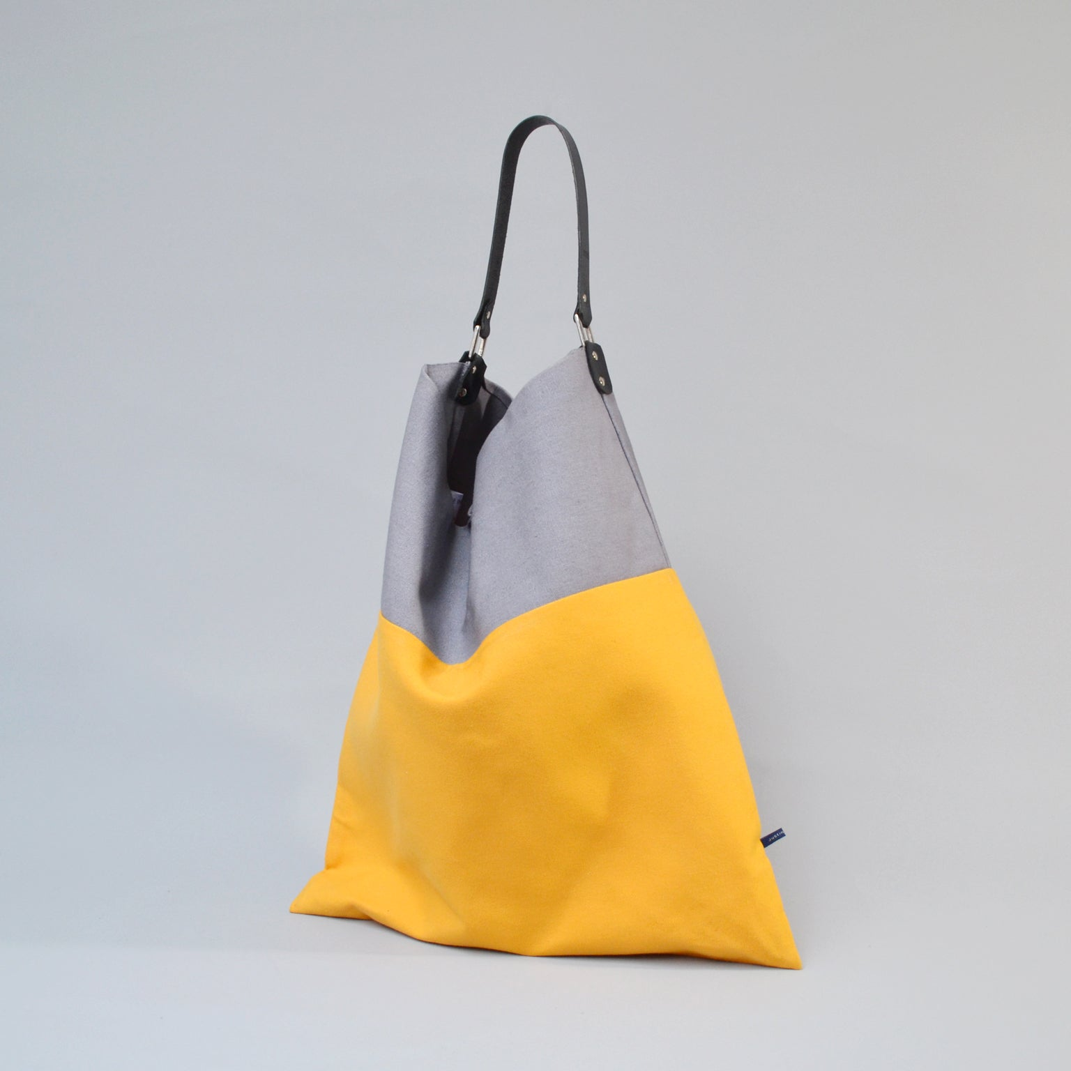 TESS Tote Bag<br> Grey & Yellow