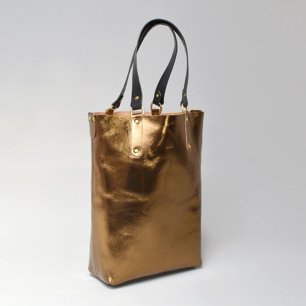VIOLET  <br/> Foiled Leather Mini Tote <br> Bronze