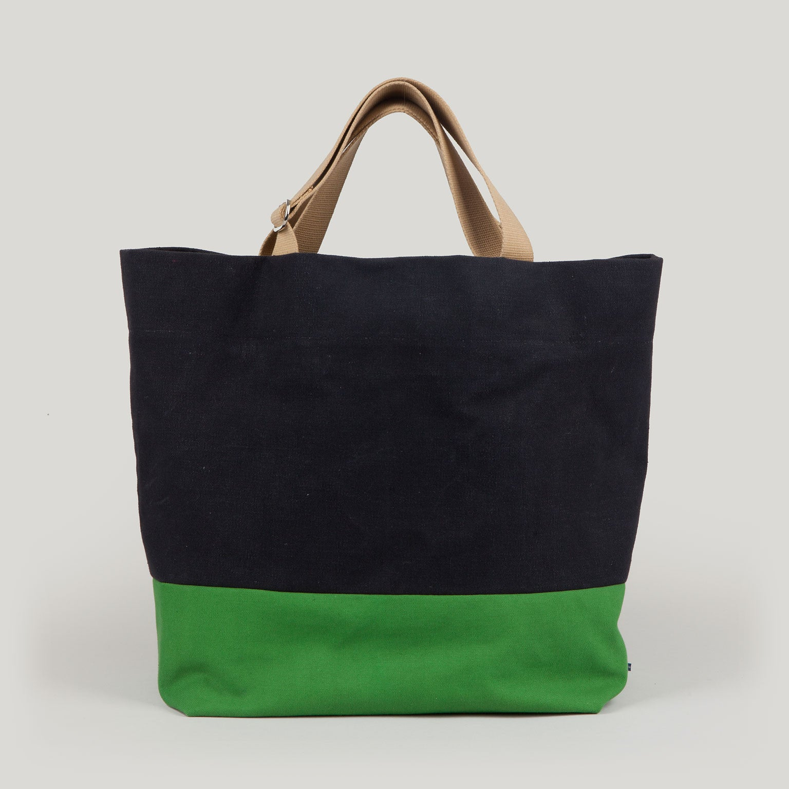 FRIDA  <br/> Waxed Canvas Tote <br/> Black & Apple Green