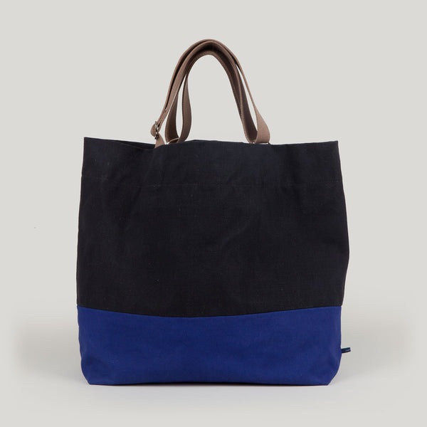 FRIDA <br/> Waxed Canvas Tote <br/> Black & Azure