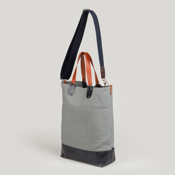 PHOEBE <br/> Canvas/Leather Tote Bag <br/> Grey