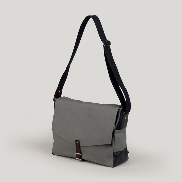 HARRY  <br/> Waxed Canvas Satchel <br/> Grey