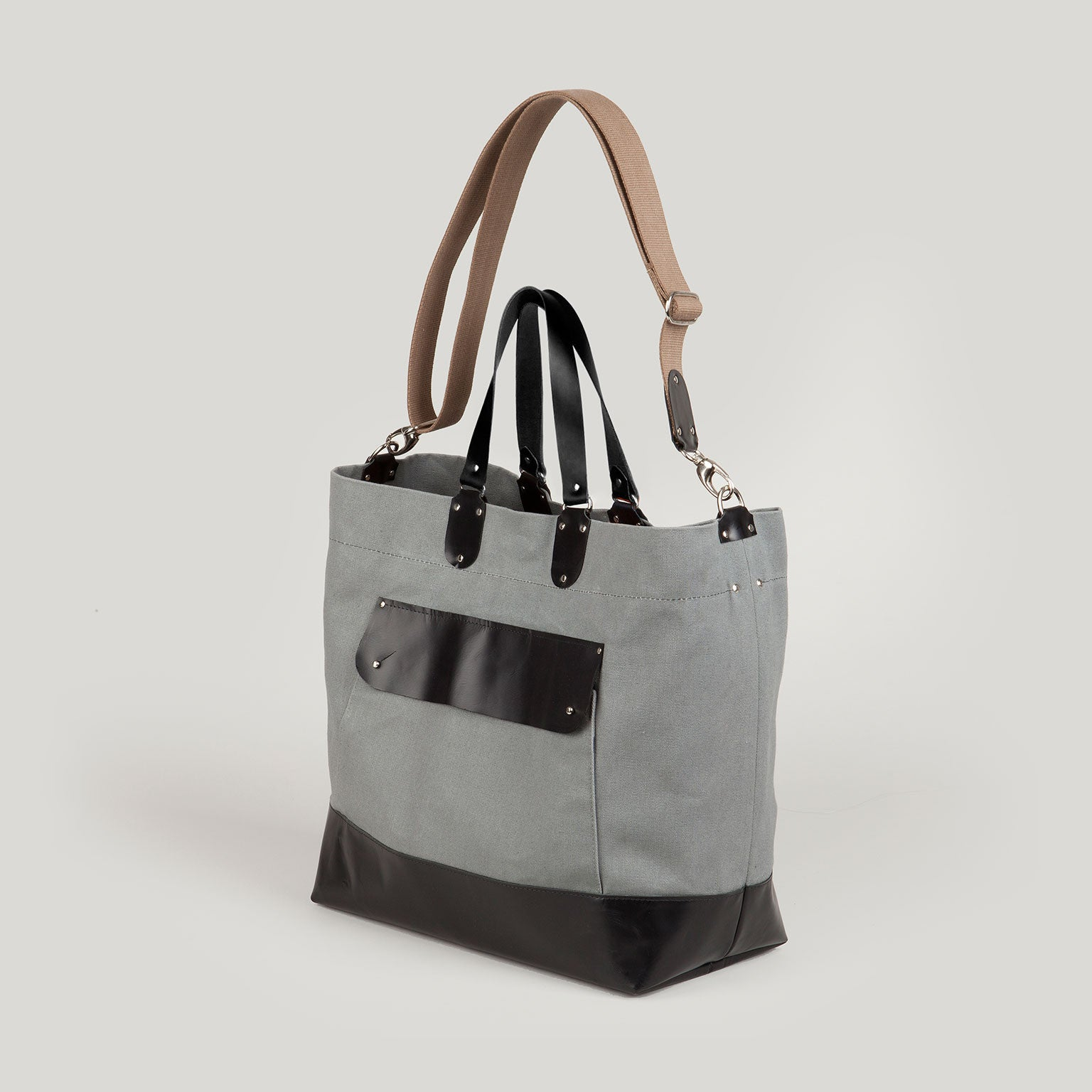 JETT  <br/> Large Canvas&Leather Tote <br/> Grey