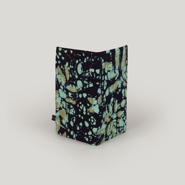 Travel Wallet Marbled Batik - black, teal & mustard