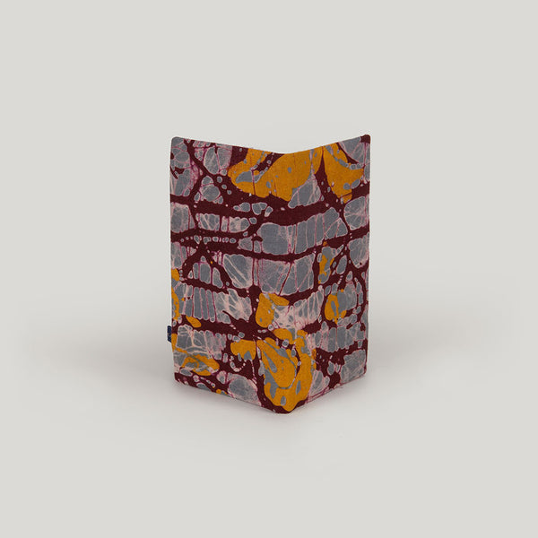 Travel Wallet Marbled Batik - grey, beetroot & mustard