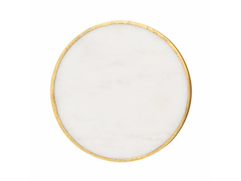Marble Coasters with Brass Rim, Set of 4 - Artisanal Creations