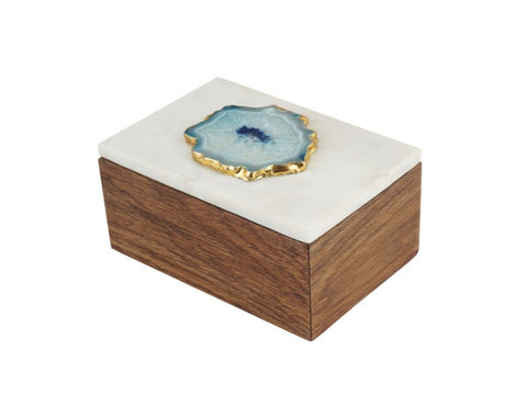 Teak and Marble Jewelry Box with Agate Stone - Artisanal Creations