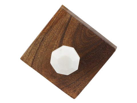 Wood Hooks with Marble on Front - Set of 2 - Artisanal Creations
