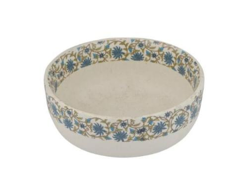 Artisanal Creations Stoneware Beige Floral Dining Bowl - Artisanal Creations