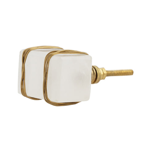 White Stone Knob with Brass wire, Set of 4 - Artisanal Creations
