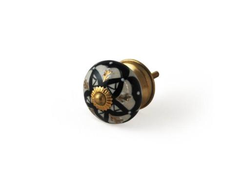 Black & White Hand Painted Ceramic Knobs with Gold Detailing, Set of 4 - Artisanal Creations