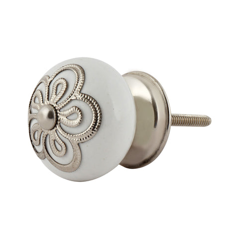 Stamped Metal White Knob, Set of 4 - Artisanal Creations