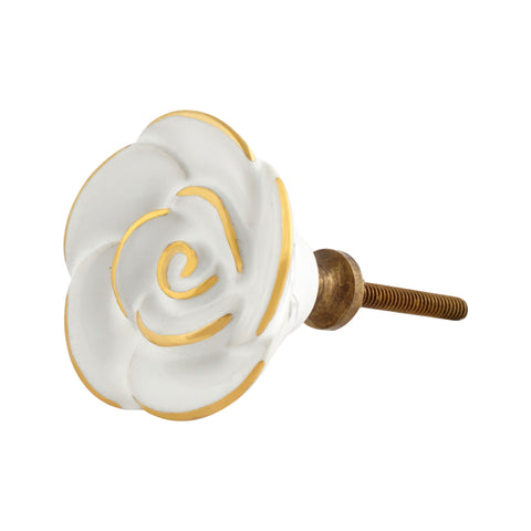 White Rose Knobs with Gold Detailing, Set of 4 - Artisanal Creations