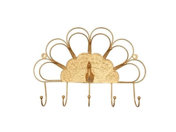 Golden Peacock Wall Hook - Artisanal Creations