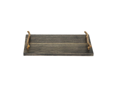Solid Wood Serving Tray with Brass Handles - Artisanal Creations