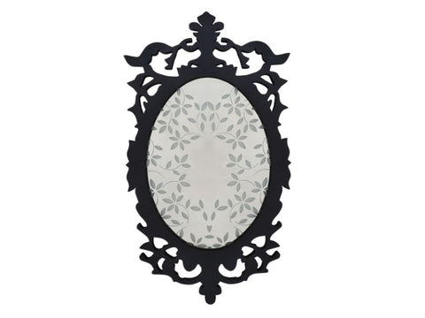 Black Victorian Wall Mirror with Leaves Etching - Artisanal Creations