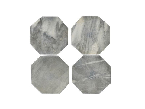 Grey Hexagon Marble Coasters, Set of 4 - Artisanal Creations